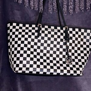 Black and white checkered jest set tote